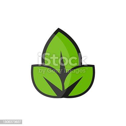 istock Leaves Icon. Flat Design. Vector Illustration 1306373637