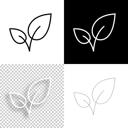 Leaves. Icon for design. Blank, white and black backgrounds - Line icon