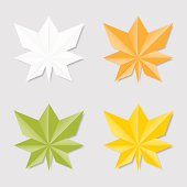 Collection of leaves in origami style for your design