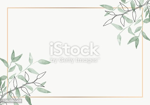 istock Leaves minimalistic vector frame. Hand drawing plants, branches, Herbal. Greenery wedding square invitation. leaf, Gold line. Watercolor, line drawing style. Modern neutral design for poster, card. 1262582928