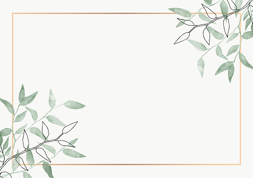 Leaves minimalistic vector frame. Hand drawing plants, branches, Herbal. Greenery wedding square invitation. leaf, Gold line. Watercolor, line drawing style. Modern neutral design for poster, card.