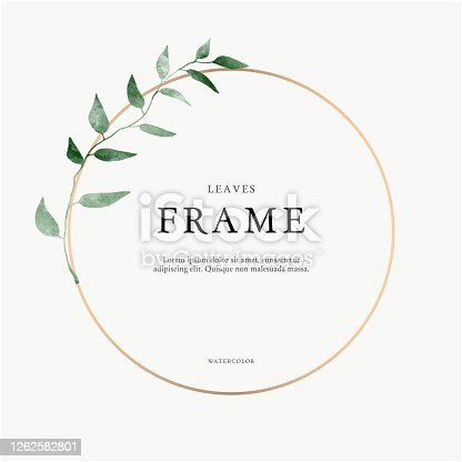 istock leaves minimalistic vector round frame. Hand drawing plants, branches, Herbal. Greenery wedding square invitation. leaf, Circle. Gold line. Watercolor style. Modern neutral design for poster, card. 1262582801