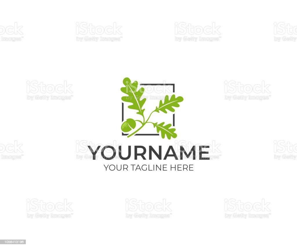 Leaves oak and acorn logo design. Oak tree vector design. Nature illustration Leaves oak and acorn logo design. Oak tree vector design. Nature illustration Acorn stock vector
