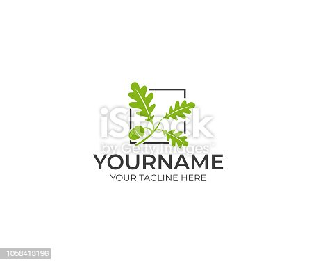 Leaves oak and acorn logo design. Oak tree vector design. Nature illustration