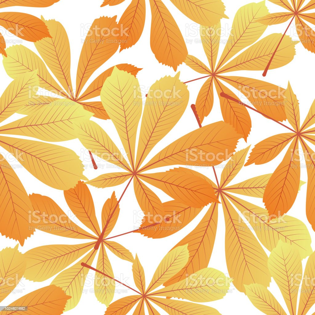 Leaves of chestnut. Yellowed foliage. Autumnal seamless pattern. vector art illustration
