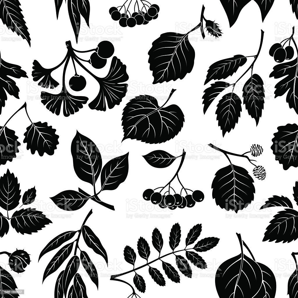 Leaves of Plants Pictogram, Seamless vector art illustration
