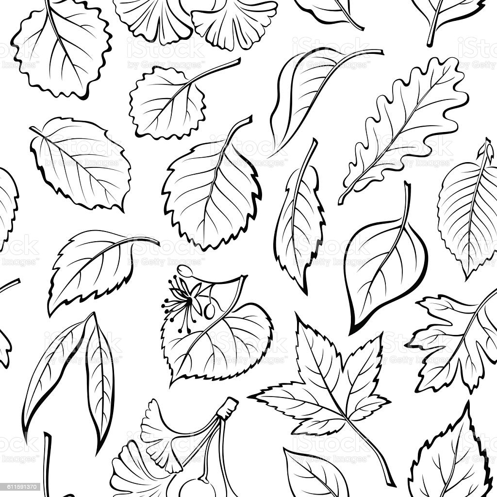 Leaves of Plants Pictogram, Seamless vector art illustration