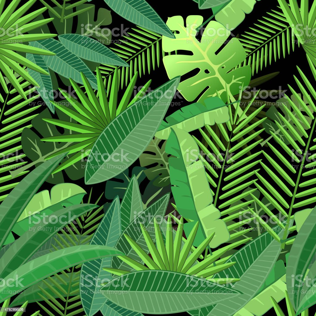 Leaves of tropical palm tree. Seamless pattern on  dark background vector art illustration