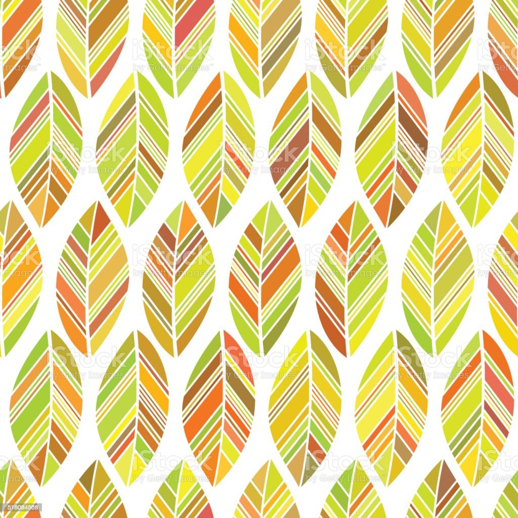 leaves seamless colored vector art illustration