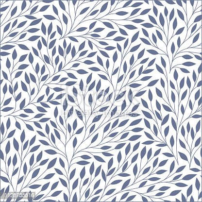 Leaves seamless pattern. Vector illustration. Endless texture for season spring and summer design. Can be used for wallpaper, textile, gift wrap, greeting card background.