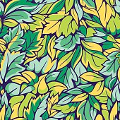 Leaves seamless pattern. Floral seamless vector background