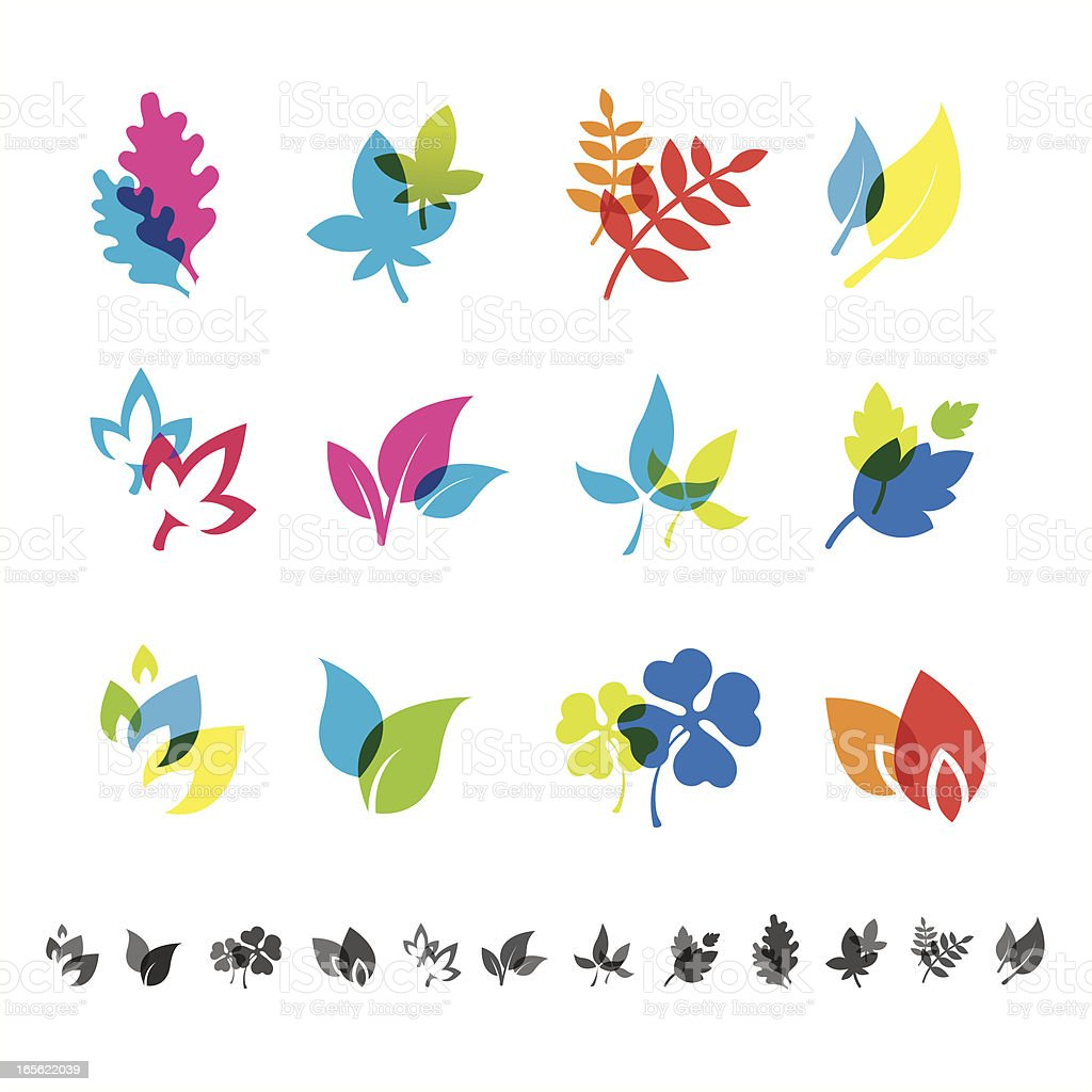Leaves set vector art illustration
