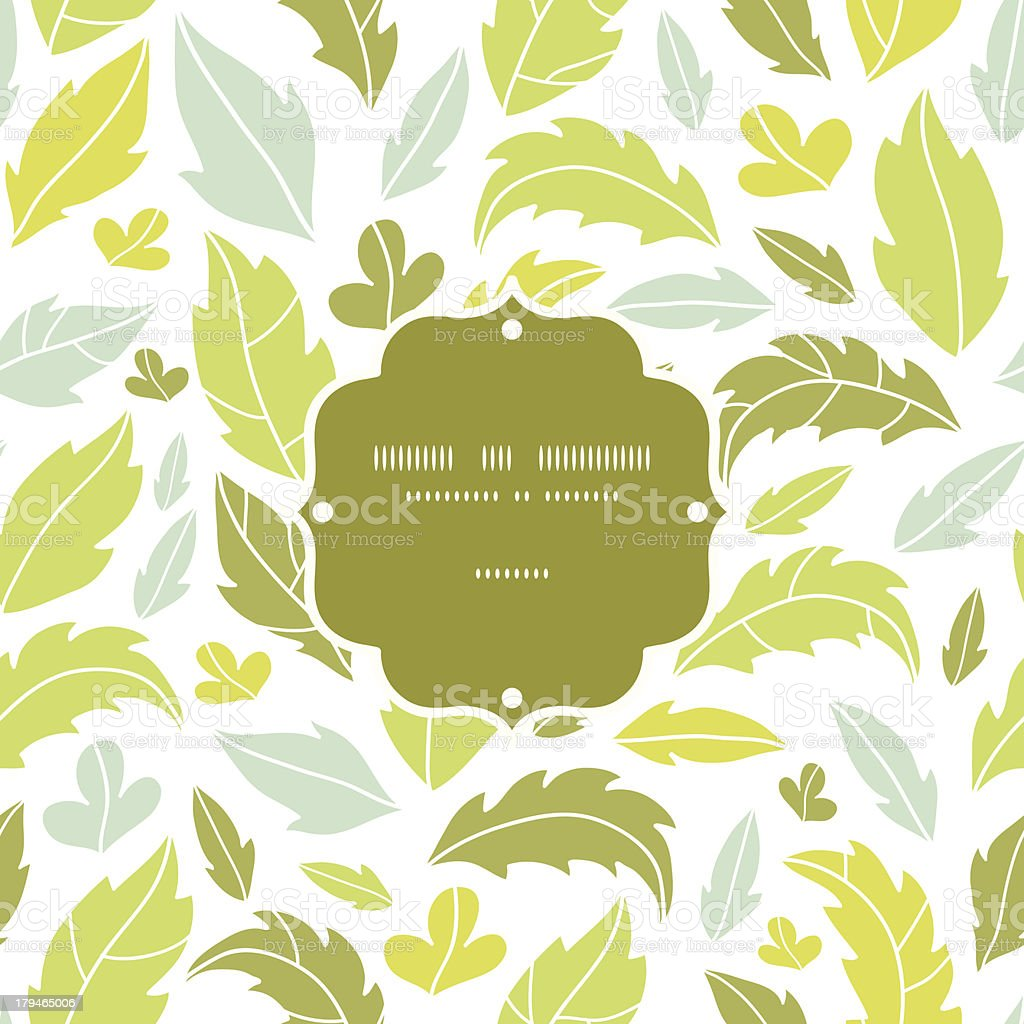 Leaves silhouettes frame seamless pattern background royalty-free stock vector art