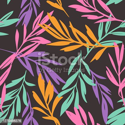 istock Leaves sprigs twigs leafage stem branch seamless pattern. Botanical background. Autumn leaves ornament.  Flat drawing. Fashion design. 1270498376