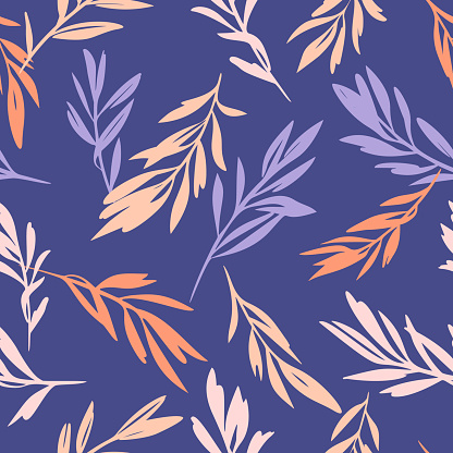Leaves sprigs twigs leafage stem branch seamless pattern. Botanical background. Autumn leaves ornament.  Flat drawing. Fashion design.