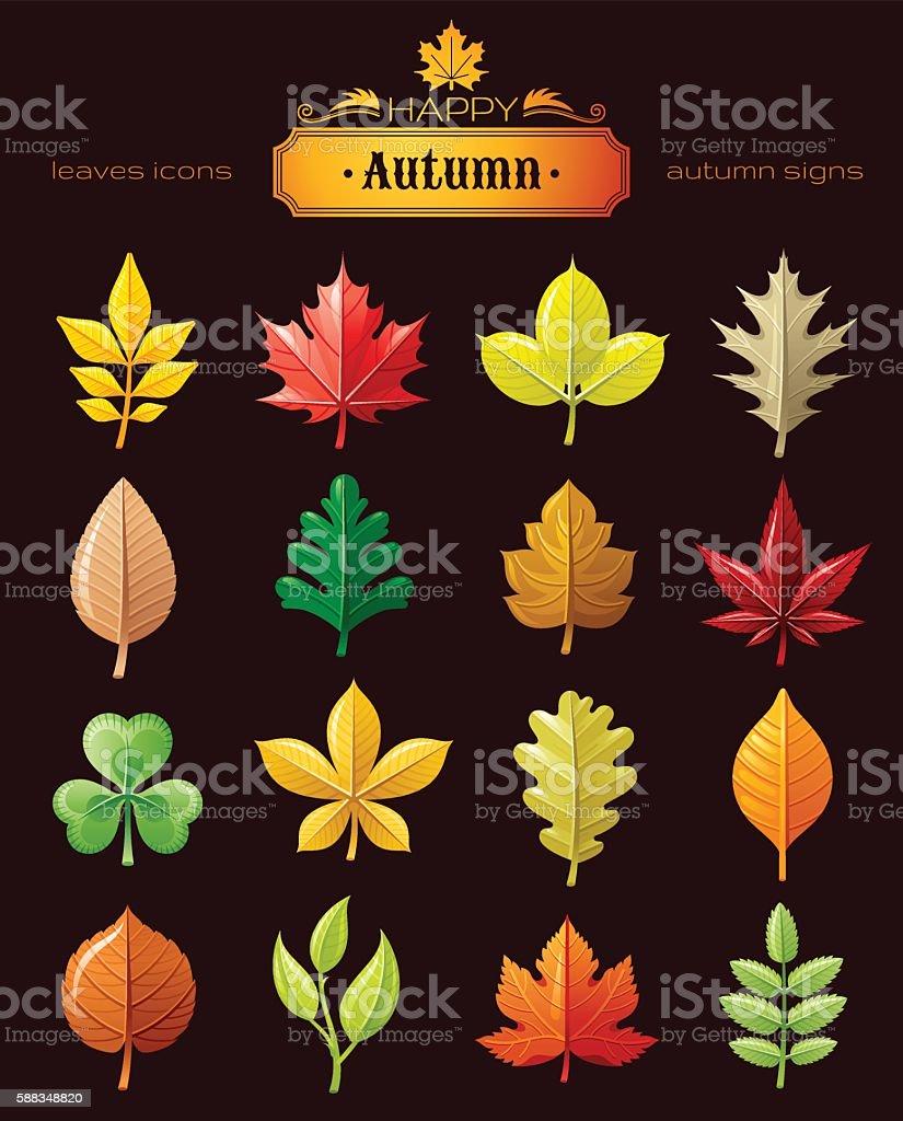 Leaves vector icon set for natural, seasonal, ecological design concept. vector art illustration
