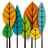 Vector illustration of a group of leaves, paper effects style.