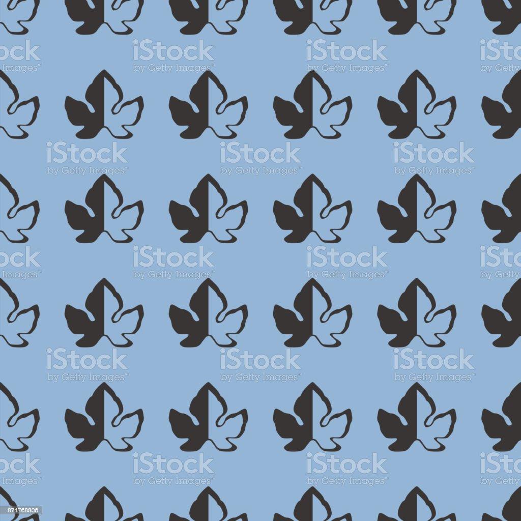 Leaves vector illustration on a seamless pattern background vector art illustration