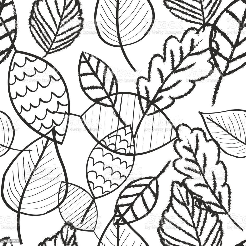 Leaves white and black doodle wallpaper seamless pattern retro design leaves white and black doodle wallpaper seamless pattern retro design - immagini vettoriali stock e altre immagini di carta da parati royalty-free