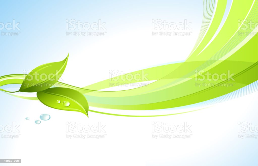 Leaves with Graphic Wave Background vector art illustration