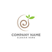 nature logo - sprout with green leaves and seed symbol. New life, agriculture and cultivation vector icon.