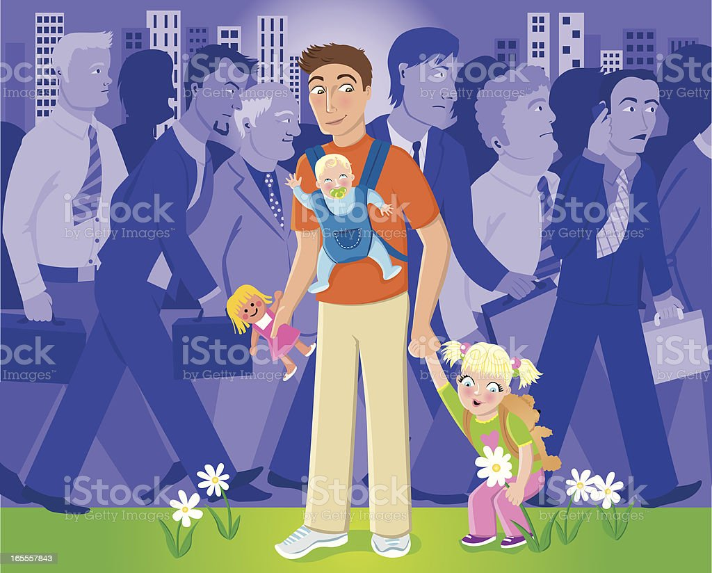 Leaving corporate life to be a stay at home dad vector art illustration