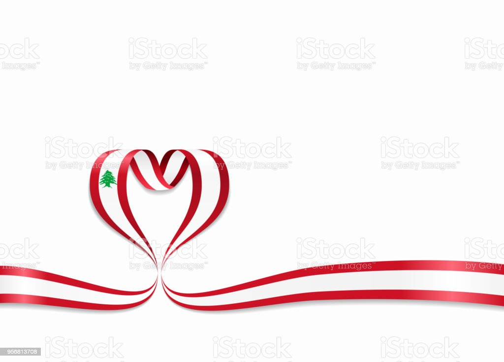 lebanese flag heartshaped ribbon vector illustration stock