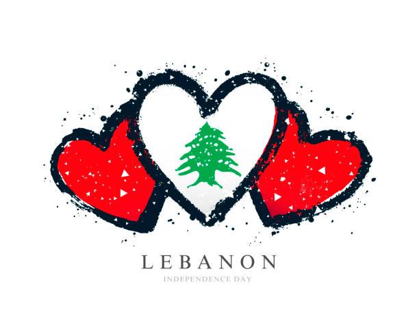 libanesische flagge in form von drei herzen. vektor-illustration - beirut stock-grafiken, -clipart, -cartoons und -symbole