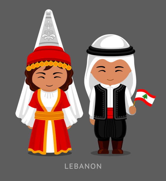 libanesisch in nationalem kleid mit einer flagge. - beirut stock-grafiken, -clipart, -cartoons und -symbole
