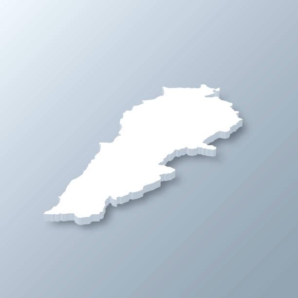 lebanon 3d map on gray background - lebanon stock illustrations