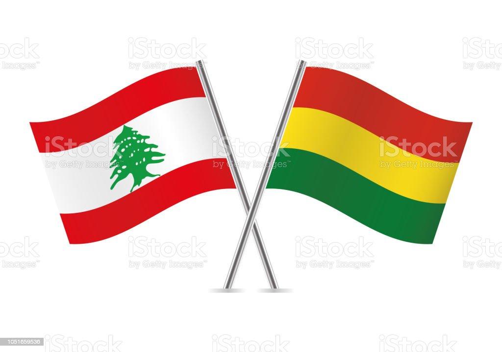 Banderas de Líbano y Bolivia. Ilustración de vector. - ilustración de arte vectorial