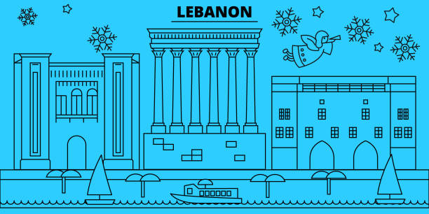 lebanon, beirut winter holidays skyline. merry christmas, happy new year decorated banner with santa claus.lebanon, beirut linear christmas city vector flat illustration - beirut stock illustrations