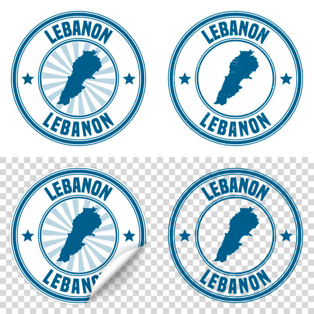 lebanon - blue sticker and stamp with name and map - lebanon stock illustrations