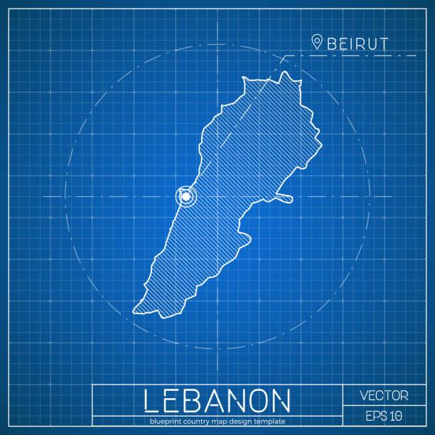 libanon-blaumeichvorlage mit hauptstadt. - beirut stock-grafiken, -clipart, -cartoons und -symbole