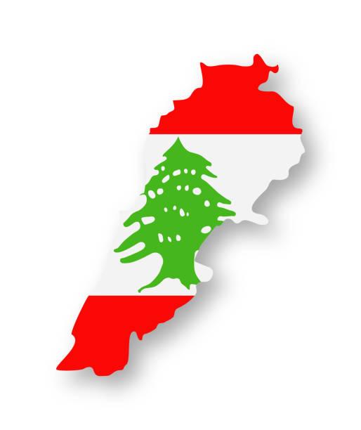 lebanon - contour country flag vector flat icon - lebanon stock illustrations
