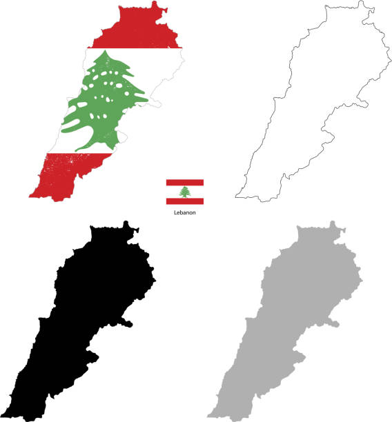 liban kraju i czarna sylwetka z flagą na tle - lebanon stock illustrations