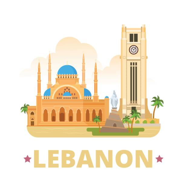 lebanon country design template. flat cartoon style historic web site vector illustration. world travel sightseeing asia collection. beirut clock tower mohammad al-amin mosque our lady statue monument - beirut stock illustrations