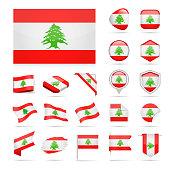 Lebanon - Flag Icon Glossy Vector Set