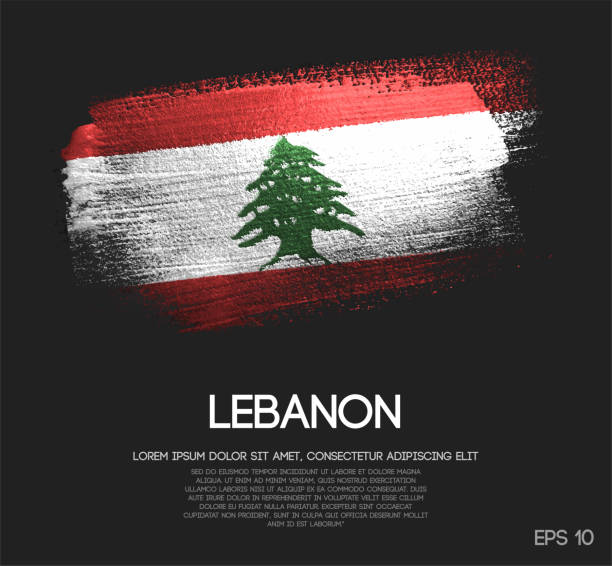 libanon-flagge gemacht glitter glitzer pinsel farbe vektors - beirut stock-grafiken, -clipart, -cartoons und -symbole