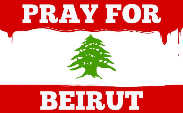 黎巴嫩國旗與文本祈禱貝魯特。隔離向量插圖。 - beirut explosion 幅插畫檔、美工圖案、卡通及圖標