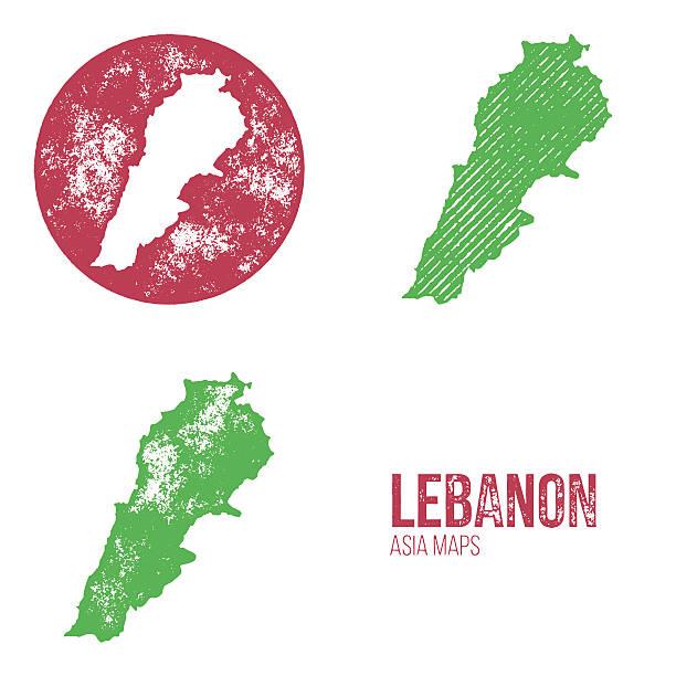 liban granica retro mapy-azja - lebanon stock illustrations
