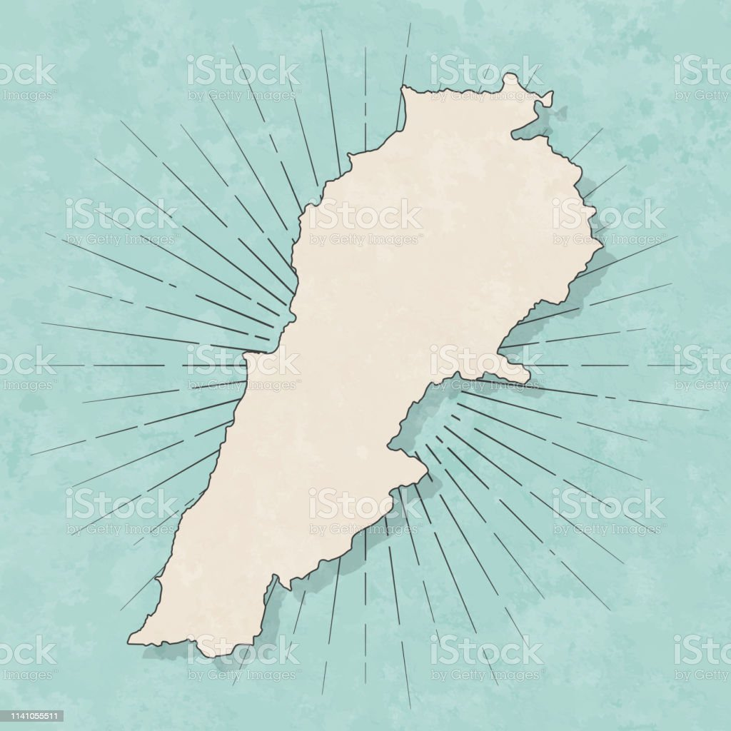 Map of Lebanon in a trendy vintage style. Beautiful retro...