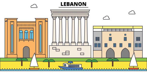 lebanon outline city skyline, linear illustration, banner, travel landmark, buildings silhouette,vector - lebanon stock illustrations
