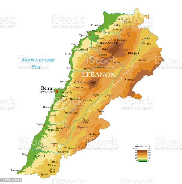 Cartina Del Libano.Mappa Fisica Del Libano Immagini Vettoriali Stock E Altre Immagini Di Asia Istock