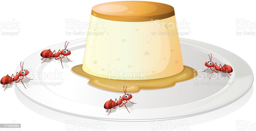 Leche flan in a plate with four ants royalty-free stock vector art