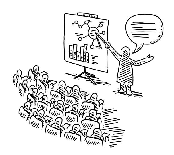 Lecture Advanced Training Education Drawing vector art illustration