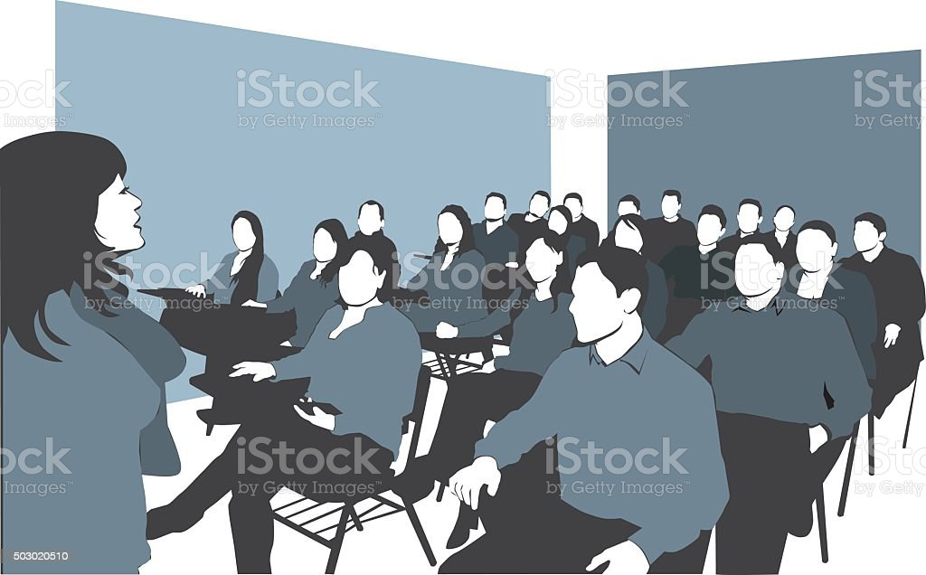 Lecture in classroom vector art illustration