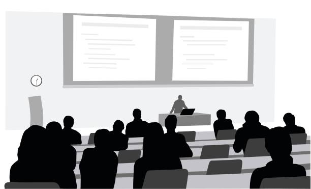 Lecture Room A vector silhouette illustration of a lecture hall in a university setting with a professor giving a lecture at the front of the room in front of a computer and behind a projection of a power point.  Students listen intently. professor stock illustrations