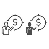 Lecturer and target with dollar line and solid icon, presentation concept, Leader presents financial goal sign on white background, Speaker with dollar symbol icon in outline. Vector graphics