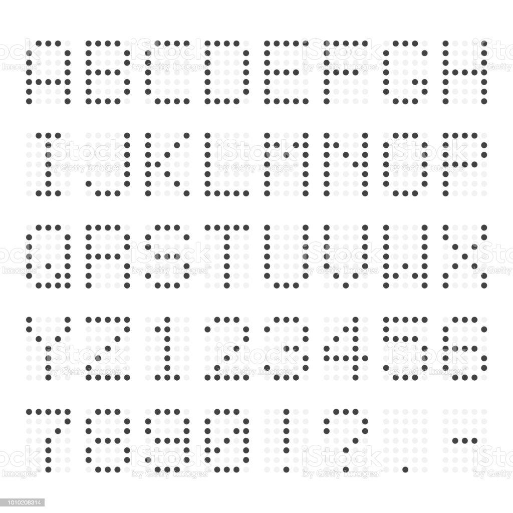 Led Abc Retro Dotted Typeface Isolated On Background Stock